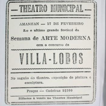 Anúncio de programa da Semana de Arte Moderna de 1922 publicado no jornal O Estado de S.Paulo